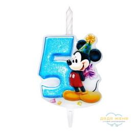 Свеча в торт Микки Маус. Цифра 5