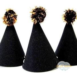 Колпачки черные с блёстками 6 шт