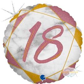 Милар с цифрой Восемнадцать Розовый Мрамор