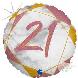 Милар с цифрой Двадцать один Розовый Мрамор