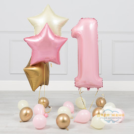 Набор  Звезды и цифра (гамма розовый+золотой)