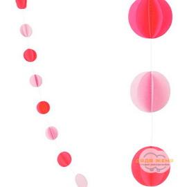 """Гирлянда """"Круги"""" Красный и Нежно-розовый"""