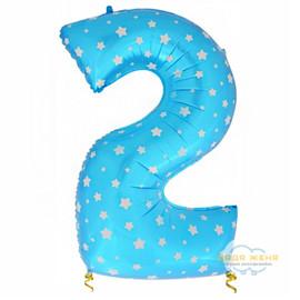 Цифра два голубая