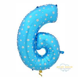 Цифра шесть голубая
