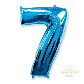 Цифра семь синяя