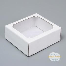 Коробка  квадратная белая с окном