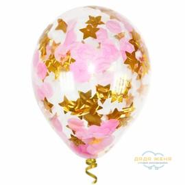 Шар с конфетти Розовое небо