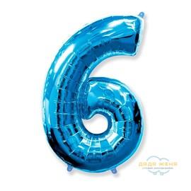 Цифра шесть синяя