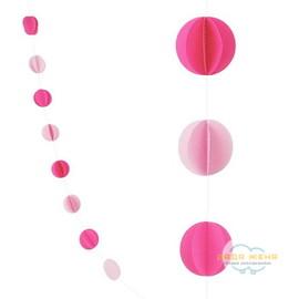 """Гирлянда """"Круги"""" Розовый и Нежно-розовый"""
