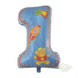 Цифра Первый День рождения голубой