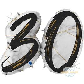 Цифра 30 Мрамор Черный