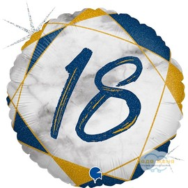 Милар с цифрой Восемнадцать Синий Мрамор