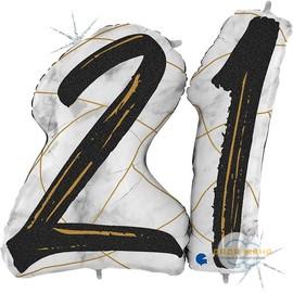 Цифра 21 Мрамор Черный