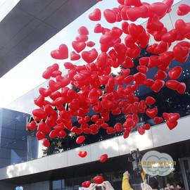 Запуск шаров-сердец из сетки (400 шт)