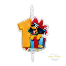 Свеча в торт Микки Маус. Цифра 1