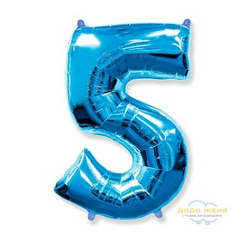Цифра пять синяя