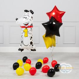 Набор шаров с цифрой один - собачкой